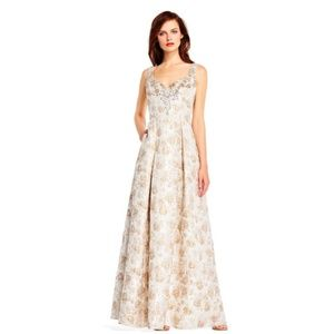 Aidan Mattox Women's Floral Jacquard Gown Dress
